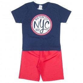 conjunto camiseta marinho nyc e bermuda vermelha 1143