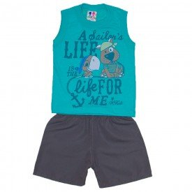 conjunto menino com estampa de cachorro e papagaio verde mar com bermuda tactel chumbo wkd 142 vrd 01