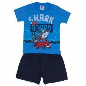 conjunto menino azul ce u com estampa de tubara o e carro com bermuda tactel verde mar wkd 147 azc 01