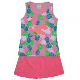 conjunto regata rosa flamingo floral e shorts 1126