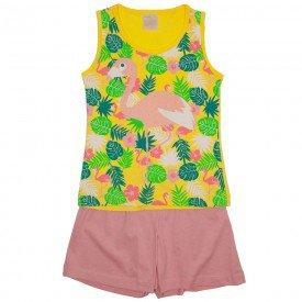 conjunto regata amarela flamingo floral e shorts rosa 1126
