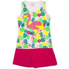 conjunto regata branca flamingo floral e shorts pink 1126
