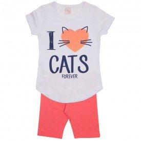 conjunto blusa meia malha branca e shorts rosa 1122