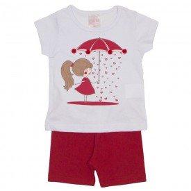 conjunto blusa branca com pompom e shorts vermelho 1109