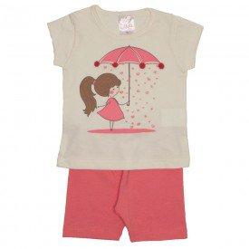 conjunto blusa off com pompom e short rosa 1109