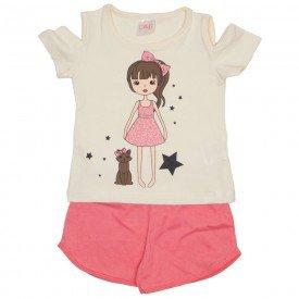 conjunto blusa off e shorts rosa 1115