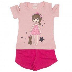 conjunto blusa rosa e shorts pink 1115