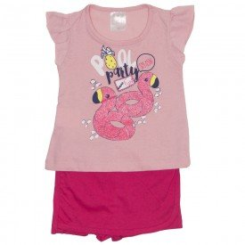 conjunto blusa rosa e shorts saia pink 1108