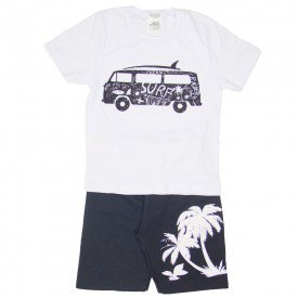 conjunto camiseta surf branca e bermuda preta 1148