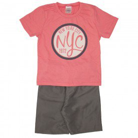 conjunto camiseta goiaba nyc e bermuda cinza 1143