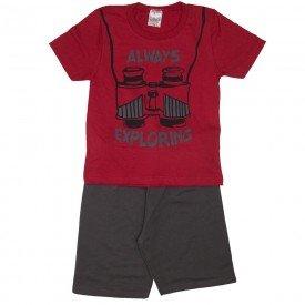 conjunto explorer camiseta vermelha e bermuda cinza 1144