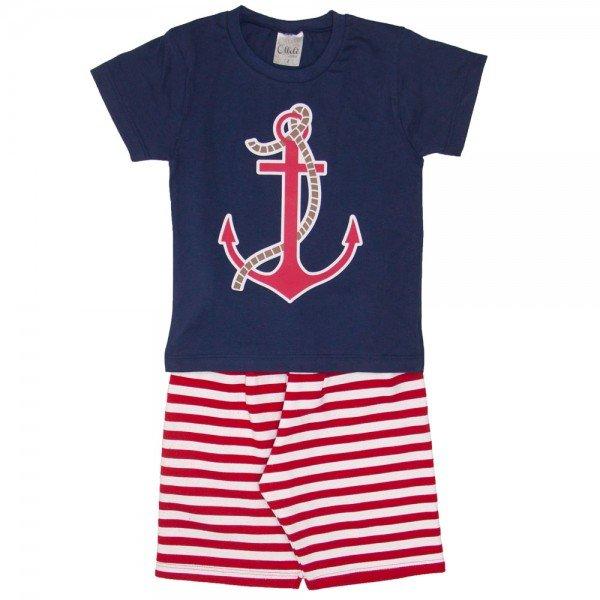 conjunto camiseta marinho e bermuda listrada vermelha 1136