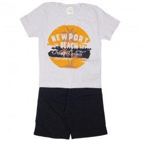 conjunto camiseta branca e bermuda preta 1153
