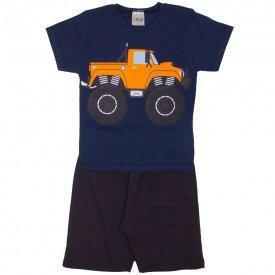 conjunto camiseta marinho truck e bermuda cinza 1138