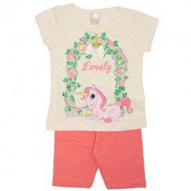 conjunto blusa meia malha off unicornio e shorts rosa 1113