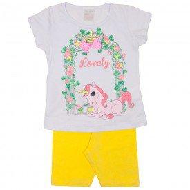 conjunto blusa meia malha branca unicornio e shorts amarelo 1113