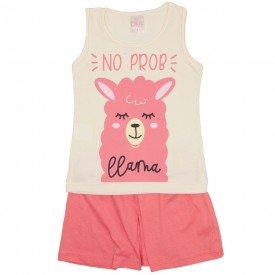 conjunto regata off white llama e shorts rosa 1156