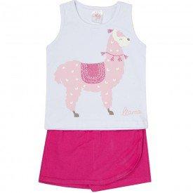 conjunto lhama regata branca e shorts saia pink 1155