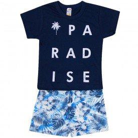 conjunto paradise camiseta preta e bermuda floral zm052