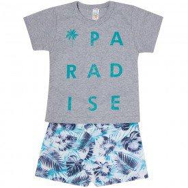 conjunto paradise camiseta mescla e bermuda floral zm052