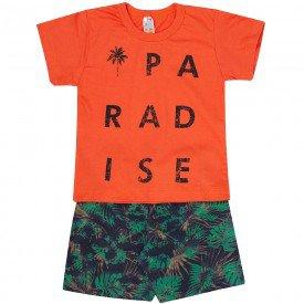 conjunto paradise camiseta laranja e bermuda floral verde zm052