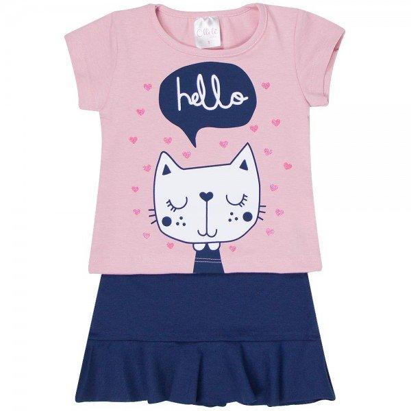 conjunto blusa rosa hello e saia marinho 1116