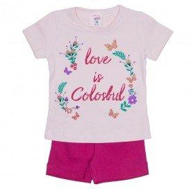 conjunto blusa rosa love e shorts em tecido com prega pink 01