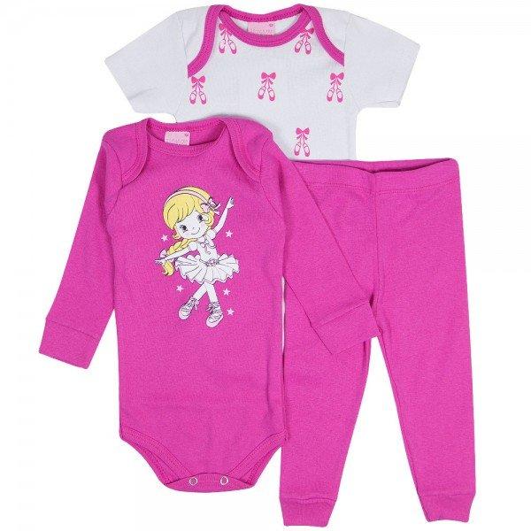 kit body manga longa pink body manga curta branca e calca pink 1219
