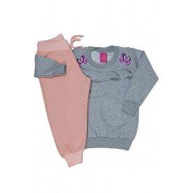 conjunto blusao moletinho mescla e calca moletinho glitter rosa 3664 3162
