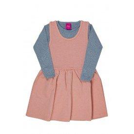 conjunto vestido salopete rosa de moletinho glitter e blusa mescla 3666 3167