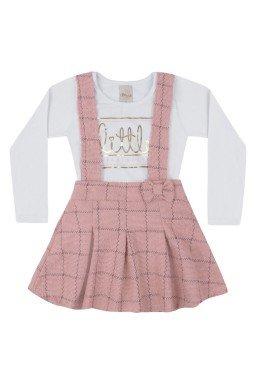 conjunto infantil menina salopete e body branco rosa 6557 7437