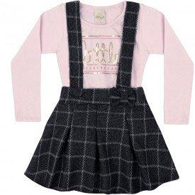 conjunto infantil menina salopete e body confete preto 6557 7438