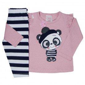 conjunto infantil bebe menina panda rosa 1159 6443