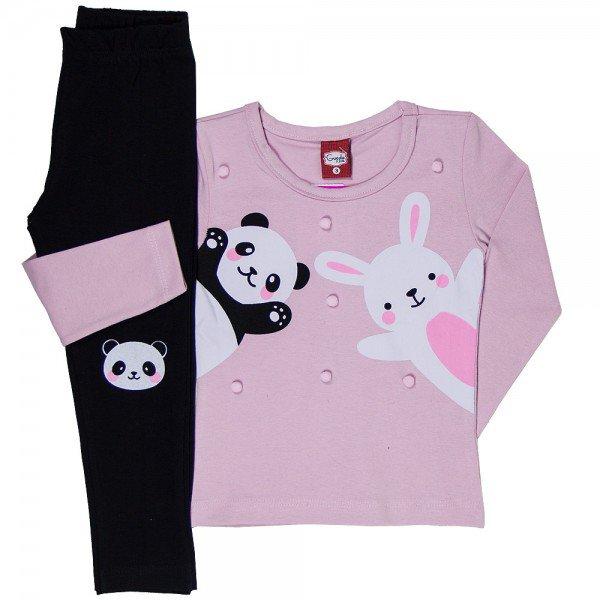 conjunto infantil feminino blusa cotton rosa calca 21119 7186