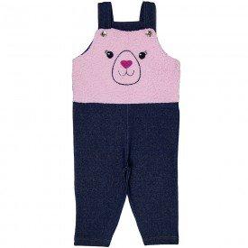 jardineira bebe feminina cotton jeans com pelo rosa 21001 7174