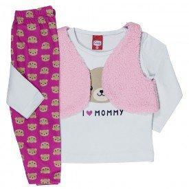 conjunto infantil blusa cotton calca colete pelo 21003 7177