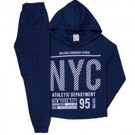conjunto infantil masculino camiseta meia malha e calca moletom marinho 1229 6652