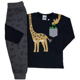 conjunto infantil menino 12 e moletom girafinha preto chumbo 1211 6596