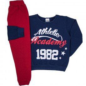 conjunto infantil masculino athletic academy moletom marinho vermelho 1225 6638
