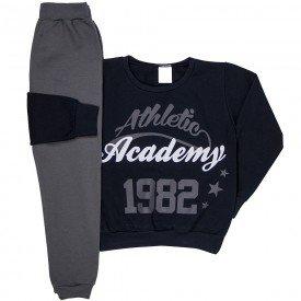 conjunto infantil masculino athletic academy moletom preto chumbo 1225 6640