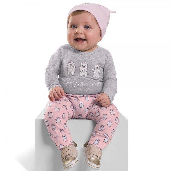 conjunto bebe menina e brinde touca winter mescla medio urso rosa 6386 7241