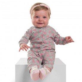 macacao infantil bebe menina lacinhos cinza 6392 7249 2
