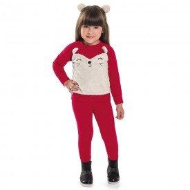 conjunto infantil menina molecotton ursinho vermelho 6402 7255