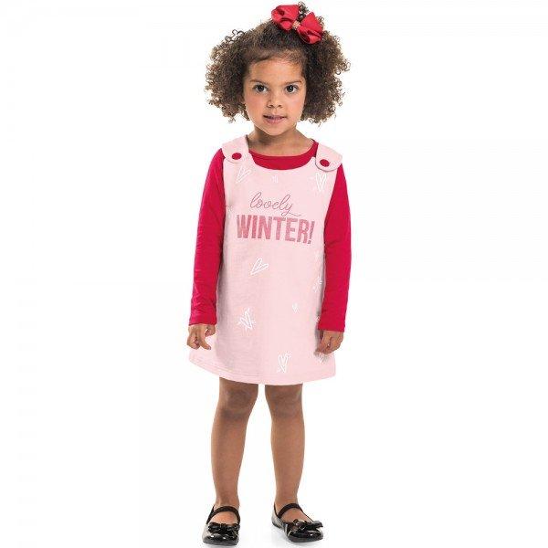conjunto jardineira infantil menina salopete pessego vermelho 6404 7258