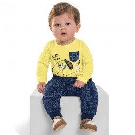 conjunto infantil bebe menino cotton dog melao marinho 6455 7259