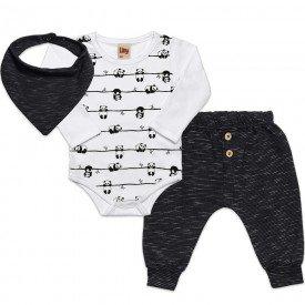 conjunto infantil bebe menino panda brinde bandana branco preto 6456 7261