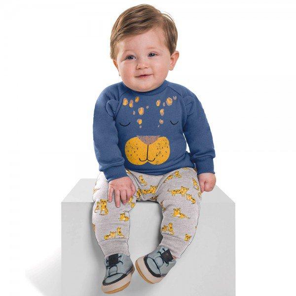 conjunto bebe menino moletom tiger orelhas azul riviera mescla medio 6457 7263