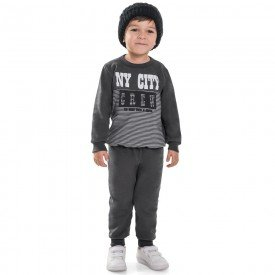 conjunto infantil menino moletom ny city chumbo mescla 6471 7277