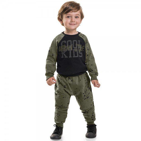 conjunto infantil menino moletom style urban verde militar preto 6472 7280