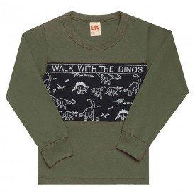 camiseta infantil menino walk with dino verde militar 6476 7284